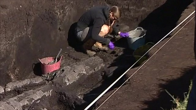 An archaeologist excavates the site