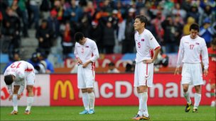 North Korea react during 7-0 defeat to Portugal on 21 June 2010 in South Africa