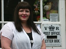 Jacqui Dart outside Blanchland Post Office