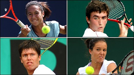 Clockwise from top left: Heather Watson, George Morgan, Laura Robson and Oliver Golding