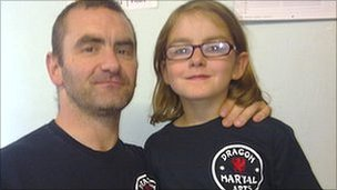 Eric Williams and his nine-year-old daughter Anna Lumley-Williams, who was diagnosed with type-1 diabetes when she was three