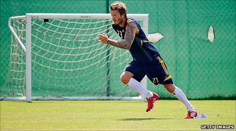 David Beckham in training with LA Galaxy