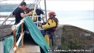 Fire crews in rescue exercise on Plymouth Hoe