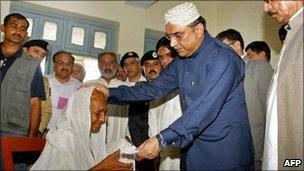 Pakistani President Asif Ali Zardari in Sukkur