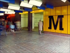 Entrance to Eldon Square in Newcastle upon Tyne, November 1982