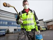 Environmental officer Paul Thomas at the University Hospital of Wales