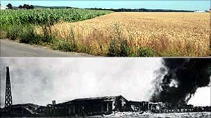Tangmere airfield 2010, and during the raid of 16 August 1940 (Tangmere Military Aviation Museum)
