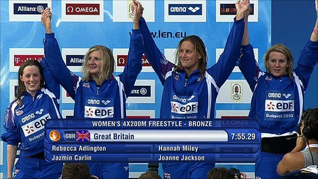The GB quartet celebrate their bronze