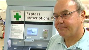 Roy Swift uses the drug vending machine