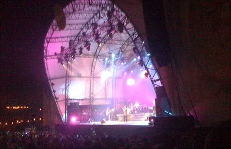 Lily Allen on stage at the Big Chill Festival