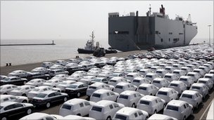 German cars awaiting export