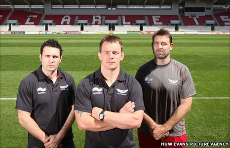 The Scarlets unveil their new leadership trio of Stephen Jones, Matthew Rees and David Lyons (left to right)