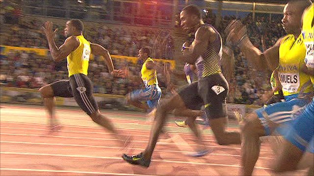 Tyson Gay leaves the field trailing