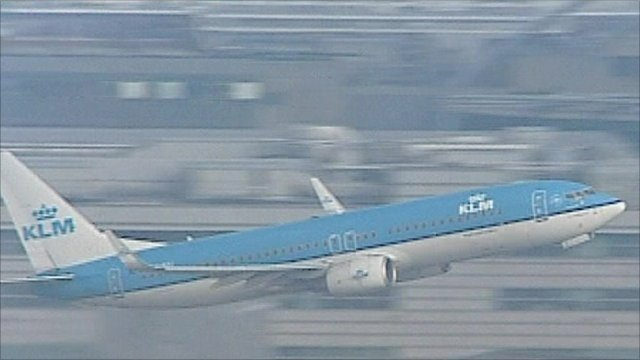 KLM plane in sky