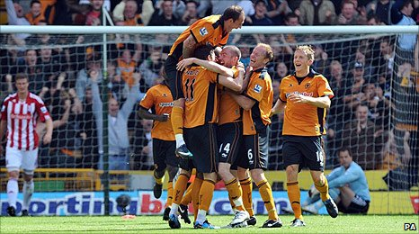 David Jones celebrates Wolves' opening goal