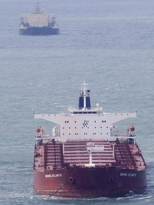 The two ships involved in the collision off south Wales