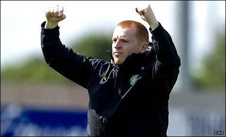 Neil Lennon celebrates the three points at Inverness