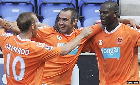 Blackpool trio Brett Ormerod (left), Gary Taylor-Fletcher and Marlon Harewood