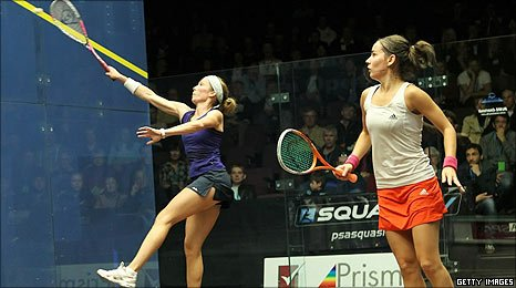 Northern Ireland's Madeline Perry in action against Jenny Duncalf  in the semi-finals of the Australian Open in Canberra