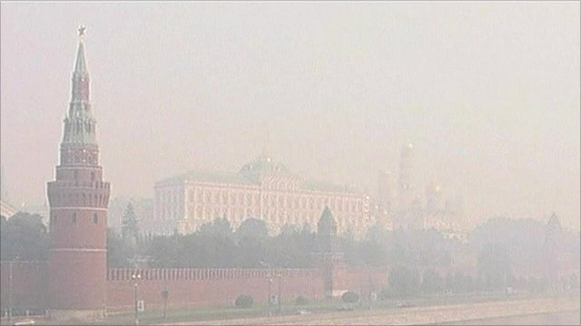 Moscow covered in smog