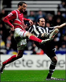 James Perch in action for Forest against Newcastle