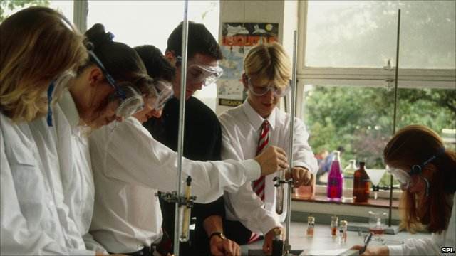 Secondary school pupils in science class
