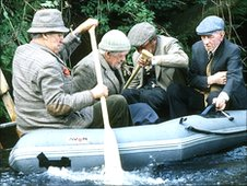 Cast of Last of the Summer Wine in a rubber dinghy