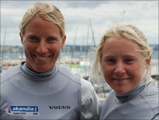Saskia Clark (L) and Sarah Ayton in Weymouth