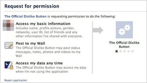 Dislike button permission page