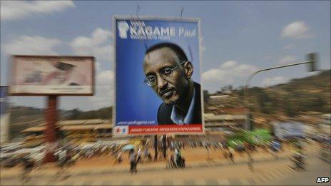 An election poster of Rwandan President Paul Kagame at the Nyabugogo market in Kigali