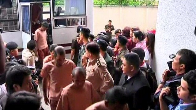 Leaders of the Thailand anti-government protests arriving at court