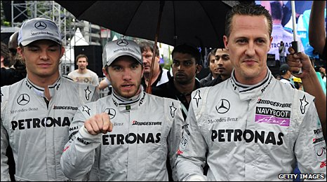 Left to right: Nico Rosberg, Nick Heidfeld and Michael Schumacher