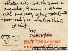 Letter from John Lennon to Steve Tilston