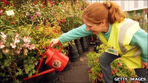 A gardener waters flowers (file photo)