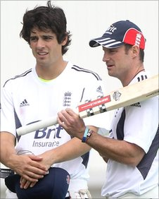 Alastair Cook (left) with England captain Andrew Strauss