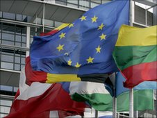 Flags fly outside the European Parliament in Strasbourg