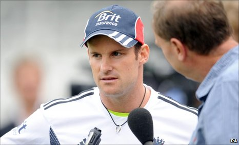 England captain Andrew Strauss speaks with Jonathan Agnew