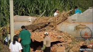 Wreckage of the aircraft in Fushun county, China