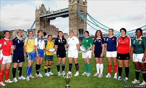 The captains of all 12 countries at the Women's World Cup pose at the competition's launch