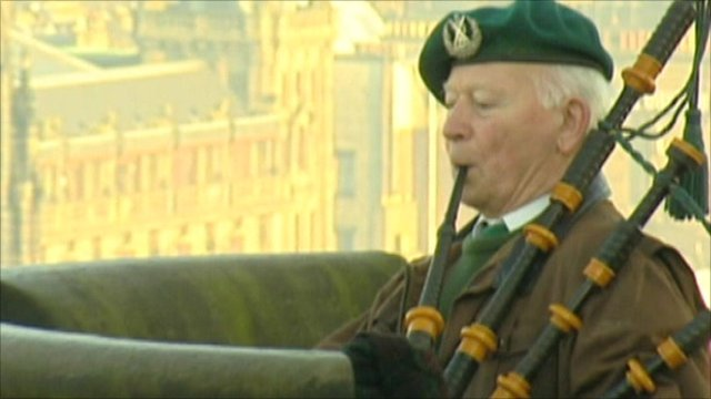Scottish bagpiper Bill Millin