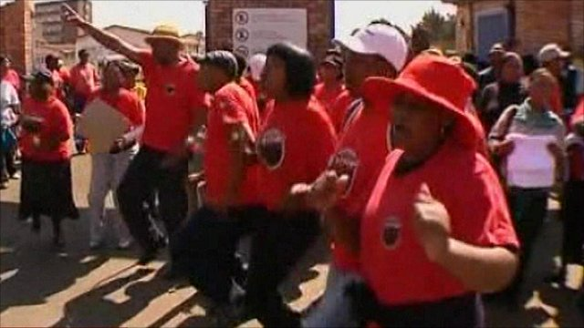 Striking health workers in Johannesburg