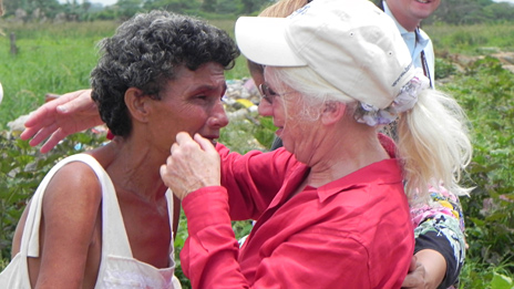 Nancy Wexler (right) hugs her old friend Angela in Barranquitas