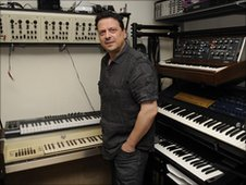 Dave Spiers with his synth collection