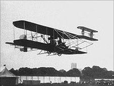 The Hon Charles Rolls flying his biplane