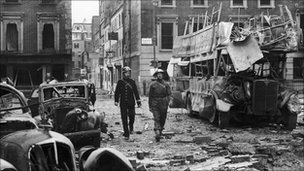 The aftermath of a German air raid, Portman Street, London, 19th September 1940.