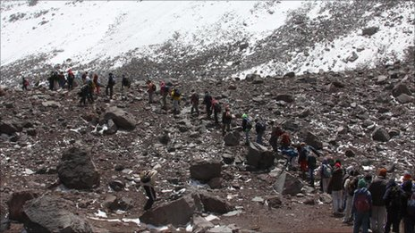 Fabian Zurita leading a group of youngsters to the glacier of Ecuador's highest mountain, the Chimborazo