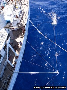 Researchers dragging tow nets beside a research vessel (Image: SEA/Giora Proskurowski)