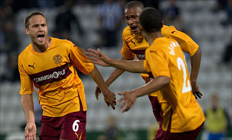 Tom Hateley celebrates scoring for Motherwell