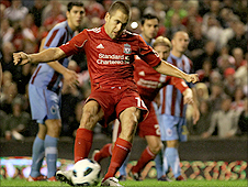 Joe Cole misses a penalty for Liverpool against Trabzonspor