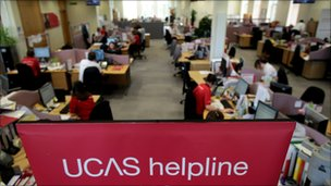 Employees in the Ucas clearing house call centre answering telephone enquiries